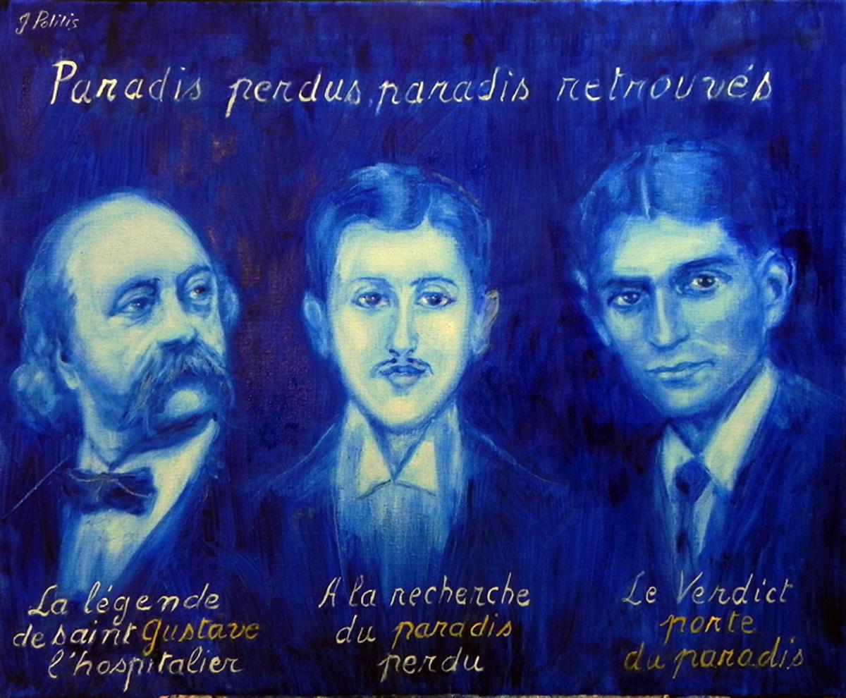 Trois génies, trois survivants, h. sur t. 60 x 73 cm